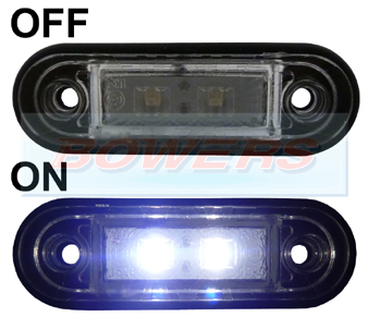 12v/24v Flush Fit White LED Marker Lamp