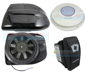 Black 12v Low Profile Motorised Turbo Roof Air Vent Extractor Fan Int