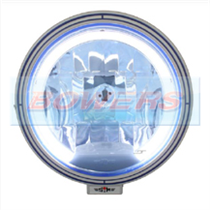 "Sim 3227 12v/24v 9"" Round Spot/Driving Lamp/Light With Blue Lens & Angel Eye LED Side/Position Light"