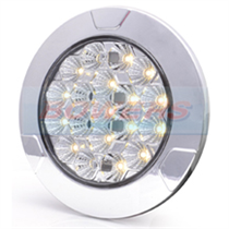 WAS LW12DS 12v/24v Clear Large Round Dimmable LED Interior Light Lamp