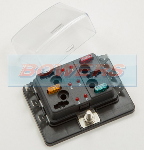 single power in 6 way mini blade fuse box led failure warning 6 way mini blade led fuse box