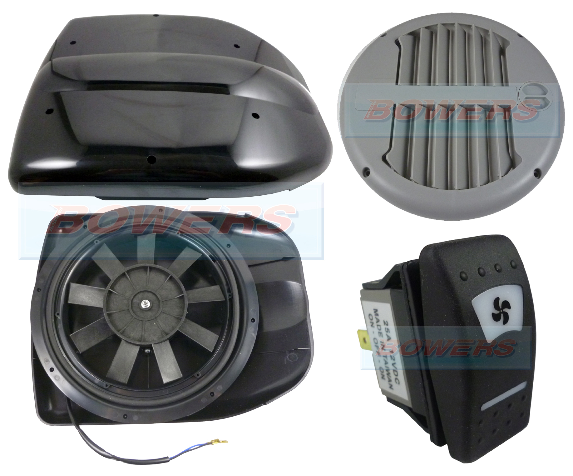 Black 12v Low Profile Motorised Turbo Roof Air Vent Extractor Fan Gre