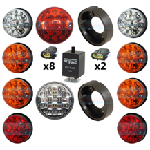 Land Rover Defender Traditional Coloured 10 LED Lamp/Light Complete Upgrade Kit RDX/Wipac