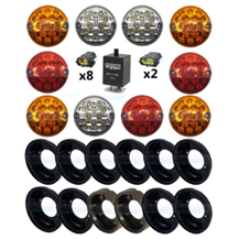 Land Rover Defender Traditional Coloured 95mm NAS 10 LED Lamp/Light Complete Upgrade Kit RDX/Wipac
