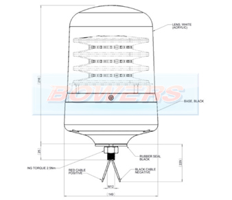 Britax B201 Clear Lens Amber LED Beacon Schematic