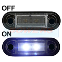12v/24v Flush Fit Slim White/Clear LED Marker Lamp/Light Ideal For Truck & Van Bars