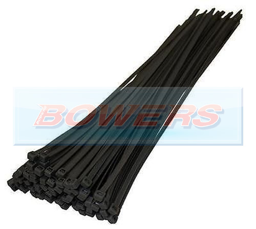 Black Cable Ties 100 Pack 300mm x 4.8mm