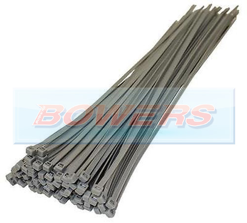 Silver Cable Ties 100 Pack 370mm x 4.8mm