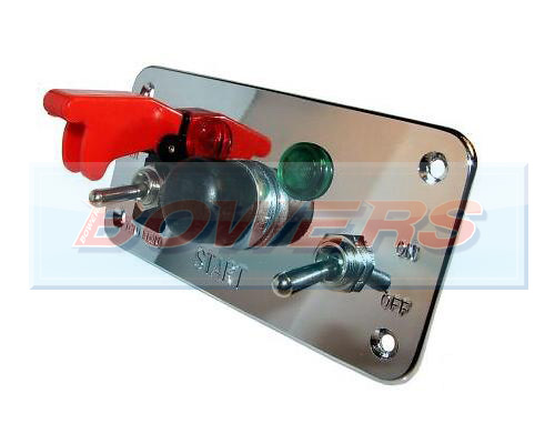 12v Push Button 5 Hole Polished Aluminium Ignition Switch Panel