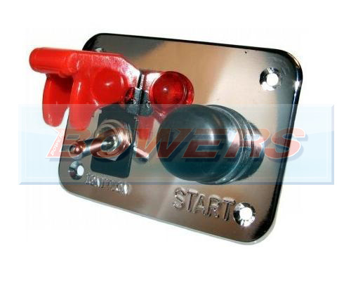 12v Push Button 3 Hole Polished Aluminium Ignition Switch Panel