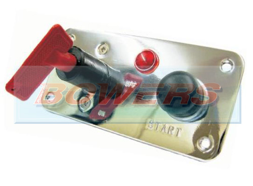 12v Push Button 3 Hole Polished Aluminium Ignition Switch Panel With Removeable Key