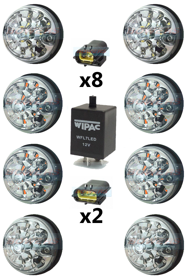 Land Rover Defender Clear 73mm LED Lamp/Light Upgrade Kit RDX As
