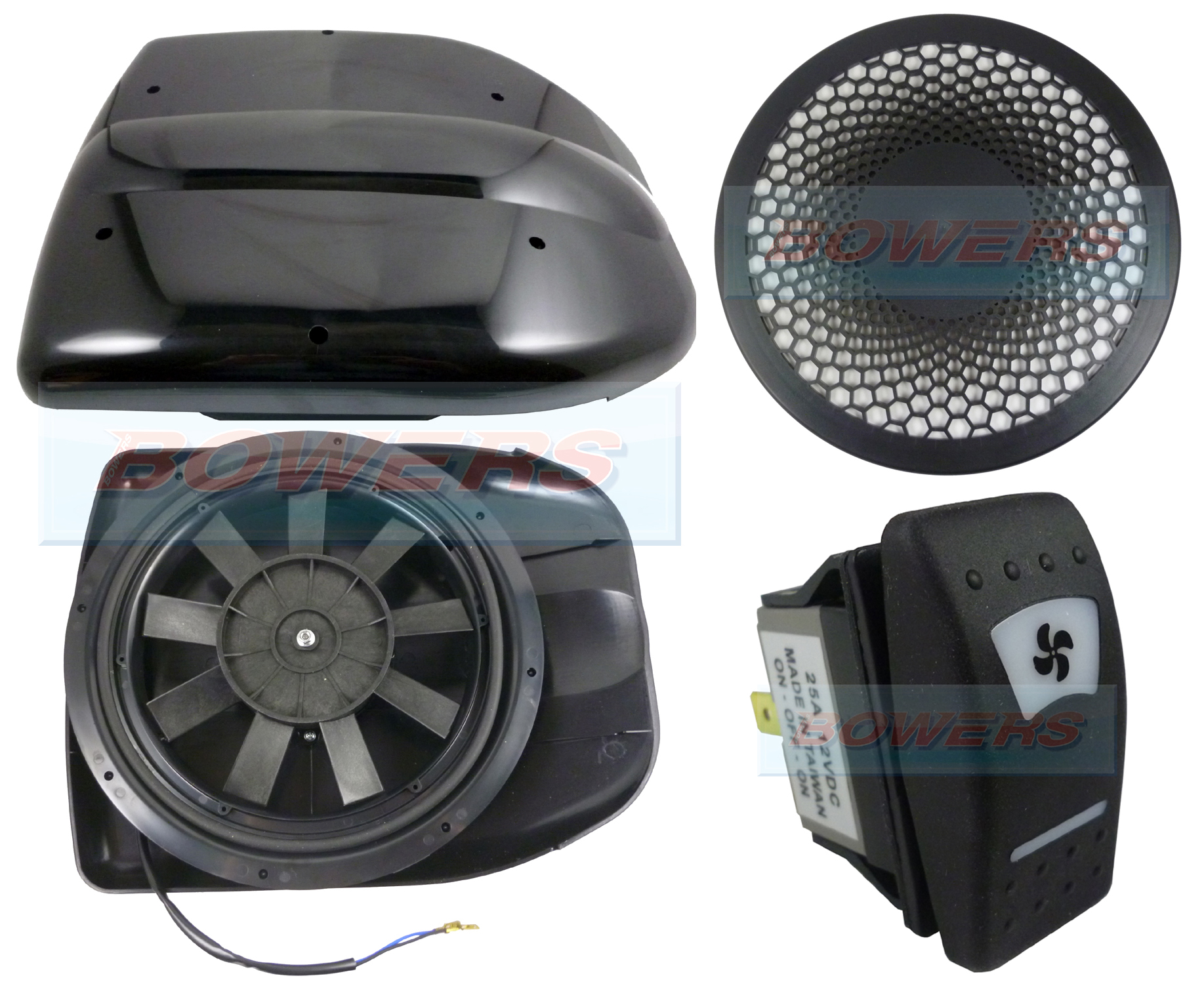 Black 12v Low Profile Motorised Turbo Roof Air Vent