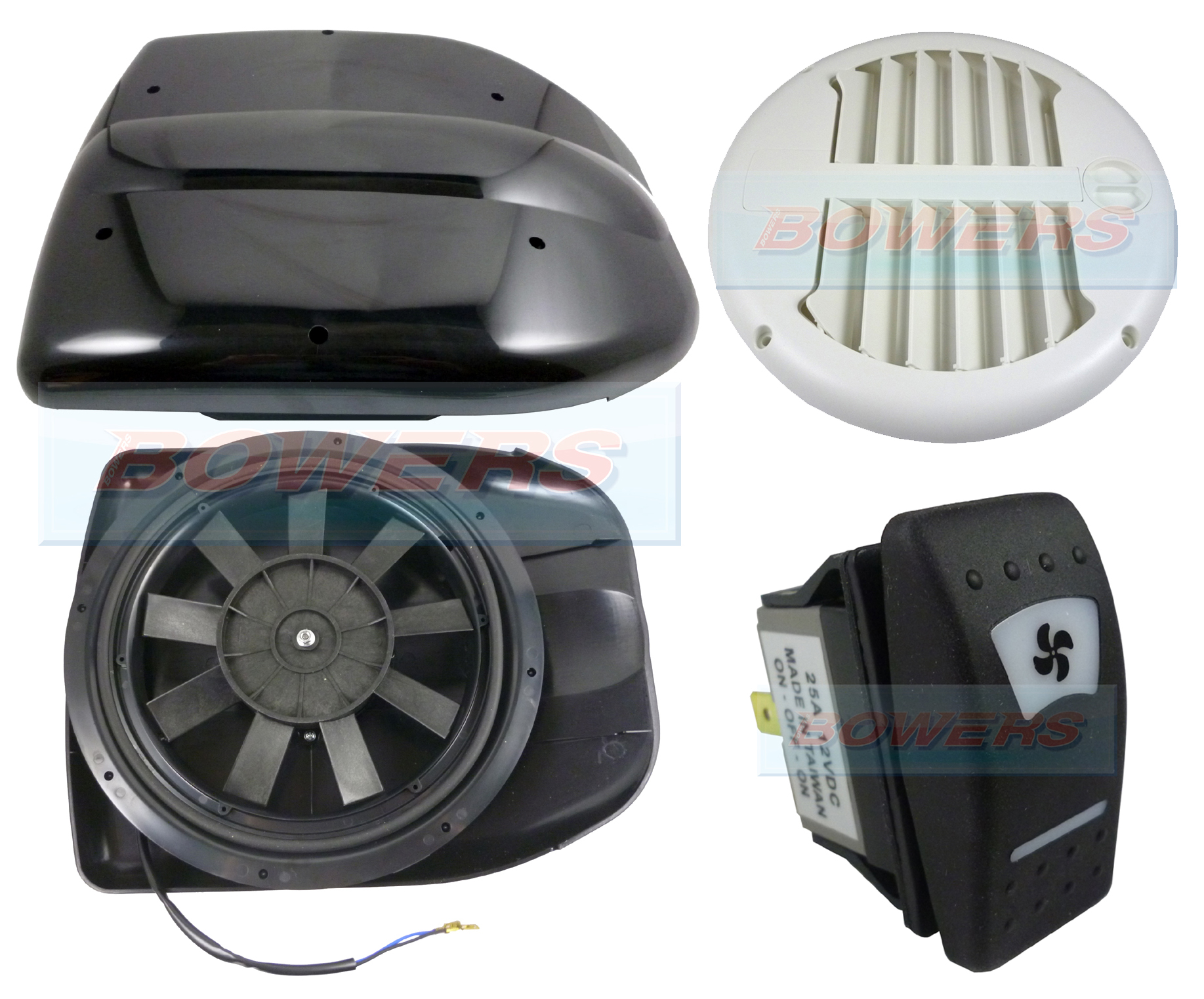 Black 12v Low Profile Motorised Turbo Roof Air Vent Extractor Fan