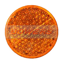 Amber 43mm Round Stick On Side Reflector