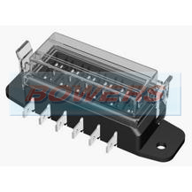 6 Way Slim Line Heavy Duty Standard Blade Fuse Box With Clip On Cover