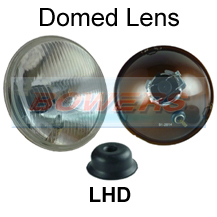 "LHD 7"" Classic Car Sealed Beam Domed Lens Headlight/Headlamp Halogen H4 Conversion (With Pilot)"