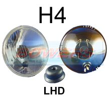 "LHD 5 3/4"" 5.75"" Classic Car Sealed Beam Outer Headlight/Headlamp Halogen H4 Conversion (With Pilot)"