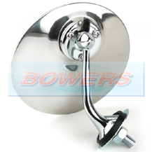 Lucas Style Chrome Round Exterior Door/Wing Mirror (Left Hand/Nearside)