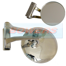 "3"" Inch Clamp On Stainless Steel Round Overtaking Peep Quarter Light Door Mirror (Offside Only)"