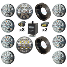 Land Rover Defender Clear 10 LED Lamp/Light Complete Upgrade Kit RDX/Wipac