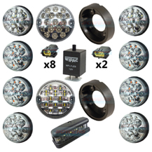 Land Rover Defender Clear 11 LED Lamp/Light Complete Upgrade Kit RDX/Wipac