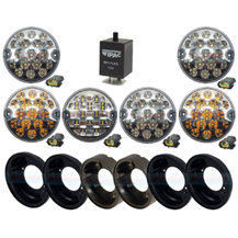 Land Rover Defender Clear 95mm Rear NAS 6 LED Lamp/Light Upgrade Kit RDX/Wipac