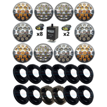 Land Rover Defender Clear 95mm NAS 10 LED Lamp/Light Complete Upgrade Kit RDX/Wipac