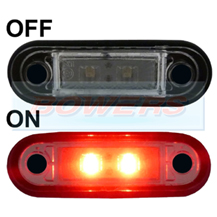 12v/24v Flush Fit Slim Red LED Marker Lamp/Light Ideal For Truck & Van Bars