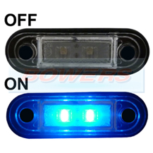 12v/24v Flush Fit Slim Blue LED Marker Lamp/Light Ideal For Truck & Van Bars