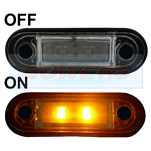 12v/24v Flush Fit Slim Amber LED Marker Lamp/Light Ideal For Truck & Van Bars