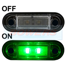 12v/24v Flush Fit Slim Green LED Marker Lamp/Light Ideal For Truck & Van Bars