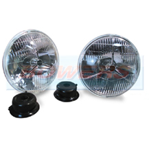 "Lucas P700 Style 7"" Tripod Sealed Beam Headlights/Headlamps Halogen H4 Conversion"