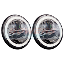 "Wipac 7"" Inch Classic Car Mini Land Rover Full LED Headlight Headlamp Upgrade With Halo Sidelight"