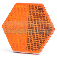 Amber Orange Hexagonal Stick On Self Adhesive Side Reflector