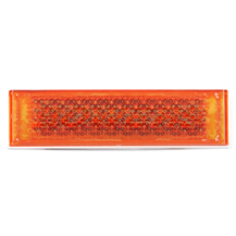 Amber Orange 126mm x 34mm Rectangular Stick On Self Adhesive Side Reflector