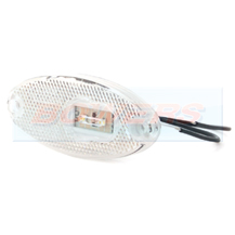 WAS W65 12v/24v Oval White Front LED Marker Light Lamp With Reflector