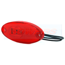 WAS W65 12v/24v Oval Red Rear LED Marker Light Lamp With Reflector