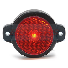 WAS W24RR 12v/24v Red Rear Round LED Marker Light Lamp With Reflector
