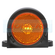 WAS W25RR 12v/24v Amber Side Roof Cab Top Wing Mount LED Marker Light Lamp With Reflector