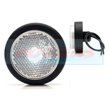 WAS W79RR 12v/24v White Front Round Push In LED Marker Light Lamp With Reflector