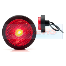 WAS W79RR 12v/24v Red Rear Round Push In LED Marker Light Lamp With Reflector