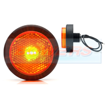 WAS W79RR 12v/24v Amber Side Round Push In LED Marker Light Lamp With Reflector