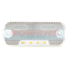 WAS W128 12v/24v White Front LED Marker Light Lamp With Reflector