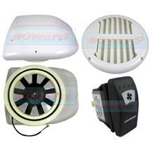 24v Low Profile Motorised Turbo Roof Air Vent & Extractor Fan + White Internal Closeable Vent