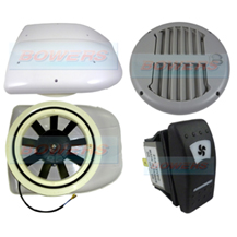 12v Low Profile Motorised Turbo Roof Air Vent & Extractor Fan + Grey Internal Closeable Vent