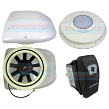 12v Low Profile Motorised Turbo Roof Air Vent & Extractor Fan + Internal Vent With LED Light