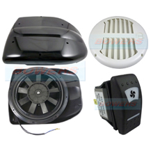 Black 12v Low Profile Motorised Turbo Roof Air Vent & Extractor Fan + White Internal Closeable Vent