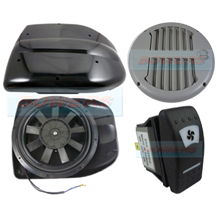 Black 12v Low Profile Motorised Turbo Roof Air Vent & Extractor Fan + Grey Internal Closeable Vent