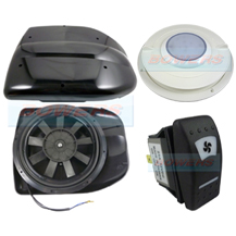 Black 24v Low Profile Motorised Turbo Roof Air Vent & Extractor Fan + Internal Vent With LED Light